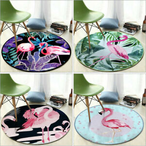 3D Soft Flamingo Carpet Anti Slip Mat Rug Bedroom Floor Mats Chair Pad Round