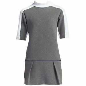 New Womens Nike Court Tennis Dress Carbon Heather/White Size M MSRP $150