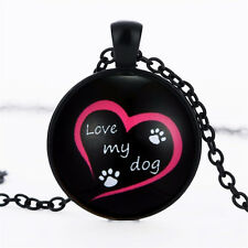 Dog Lover black Paw Necklace Jewelry Love my dog Pendant Pet for Women Gifts