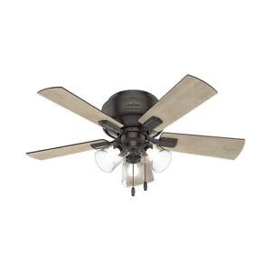 Hunter Fan Company Crestfield 42 Inch Low Profile Ceiling Fan, Noble Bronze
