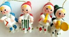 4 pieces - Vintage Christmas Ornaments band people wooden
