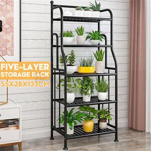 5-Tier Wrought Iron Flower Ladder Shelf Kitchen Bedroom Storage Rack Bookshelf