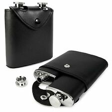E-Volve Hip Flask - 6oz Twin (3oz) Stainless Steel Hip Flask & Case - Gift