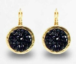 Yellow Gold 24k Plated Round Dangle Earring With Black Crystal Rock Stones
