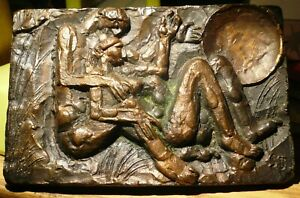 MID-CENTURY MODERN ABSTRACT NUDES BRONZE PAPERWEIGHT SIGNED SJ