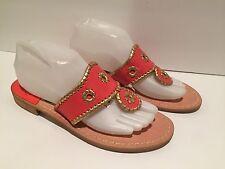 Jack Rogers Navajo Sandals Flat Flip Flop Leather Coral Gold 8 M