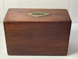 Antique Wood Treen Money Box Donation Collection Box With Brass Inlay