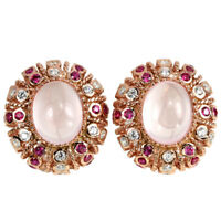 NATURAL AAA ROSE QUARTZ OVAL & MULTI COLOR CZ STERLING 925 SILVER DROP EARRING