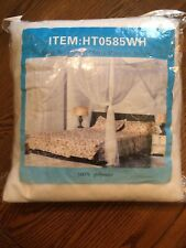 4 Corner Post Bed Canopy Mosquito Net Netting Bedding White Full Queen King New