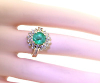 2.08ctw Emerald & Diamond 14K Yellow Gold Cocktail Ring Sizable 7.75 $3135 GIA