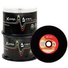 100 XLAYER Noir Bas Vinyle CD-R CD Vierge Disques 48x 700 Mo Look Rétro Broche