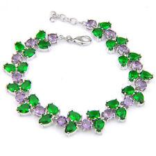 """Multi Gems Flower Style Purple Amethyst Green Topaz Silver Charming Bracelet 8"""""""
