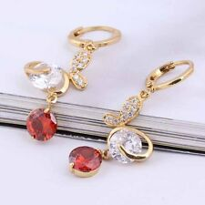 Womens 14K Yellow Gold Filled Red Cubic Zirconia Pendant Long Earrings Charm