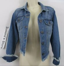 NWT Rue21 DENIM FRINGE TRIM JACKET SIZE L A SEXY BASIC JACKET ...A-MUST-HAVE!!!