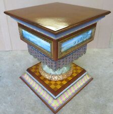 Mackenzie Childs hand-painted wood pedestal square side table w/ beadwork