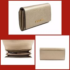 NWT MICHEAEL KORS GOLD METALLIC SAFFIANO JET SET LARGE WALLET  WITH GIFT RECEIPT
