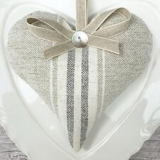 1 SUSIE WATSON GREY CHARCOAL GUSTAVIAN STRIPE Lavender Filled Fabric Heart