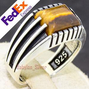 Natural Tiger Eye Stone 925 . Sterling Silver Turkish Handmade Men Ring All Size