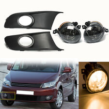 Pair Front Fog lights & Protect Cover Grille Set For VW TOURAN CADDY 2010-2014