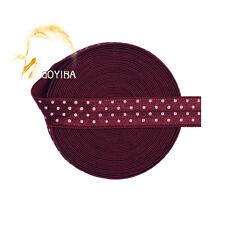 "5 Yard 5/8"" Polka Dot Print FOE Sherry Foldover Elastic Spandex Band Sewing Trim"