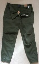 NWT American Eagle Outfitters Women Khaki Green Stretch Cuffed Pants Us2,Uk6R