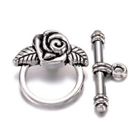 10 Sets Tibetan Alloy Rose Flower Toggle Clasps Antique Silver Closure 19x18mm