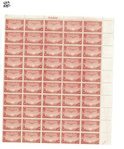 1937 United States Air Mail Postage Stamp #C22 Plate No. 21629 Mint Full Sheet