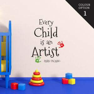 Every Child Is An Artist Wall Sticker Home Quotes Inspirational Love MS393VC