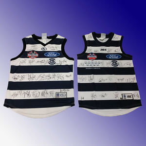 AFL GEELONG CATS FOOTBALL CLUB 2009 & 2011 SIGNED PREMIERSHIP PREMIERS JUMPER
