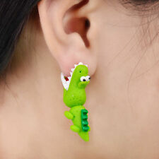 Novelty 3D Cute Animal Earrings Cartoon Green Polymer Clay Ear Stud For Women