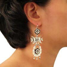 Long Drop Earrings 925 Sterling Taxco Silver Chandelier Drops Gift Boxed