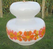 Vintage Chandelier Pendant white glass  Orange Flowers 70s  Pop Art Funky