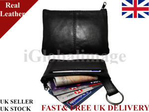 Men Women Genuine Leather Zip Coin Note Credit Card Pouch Key Ring Wallet Purse