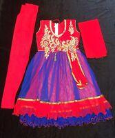 """22"""" Age 2-3 Kids Bollywood Salwar Kameez Indian Girls Fancy Dress Red Blue"""
