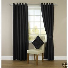 """Black Faux Silk Fully Lined Eyelet Curtains  90"""" x 90"""" inches Ring Top"""