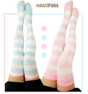 Striped Women's Lolita Over-knee Stockings Velvet Thigh High Long Stockings