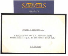 MS3488 1962 GB SCOUTING Wallis Correspondence BURNHAM SCOUTS Som Card Stockwell