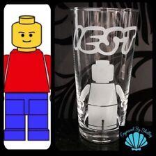 Personalised Lego Man Glass Gift Handmade Free Name Engraved! Toy Bricks