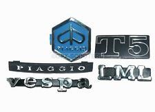 Vespa Px Lml T5 Spl Piaggio Legsheild Horn Cast Badge Complete Logo Emblem Kit