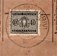 Segnatasse Regno di Italia 1934 Usato per Posta su Frammento c.40 grigio Fasci