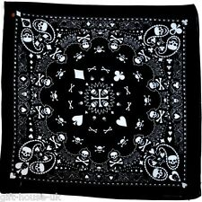 Black Skull Bandana Bandanna Gothic Head wear/Hair Band Scarf Neck Wrist Headtie
