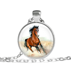 GRAPHICS /& MORE Horses Wild Running Pattern 1 Pendant with Sterling Silver Plated Chain