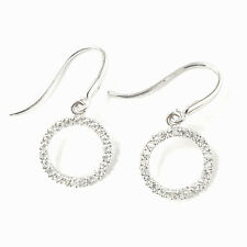 9ct White Gold Open Small Circle White Cubic Zirconia Fish Hook Drop Earrings