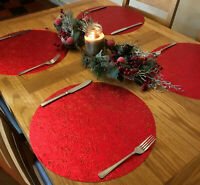 Set Of 4 Christmas Red Metallic Dinner Table Place Mats - Round