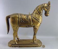 GRAND CHEVAL en  bois, 36 cm, doré, sur socle,  Inde,horse, mondo-cheval