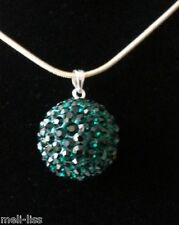 925 Silver Shamballa Green Czech Crystal Pendant-Necklace & 925 Silver Chain