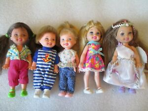 Mattel Barbie Kelly Tommy Doll Mixed Lot of Five Dressed With Shoes Restyled