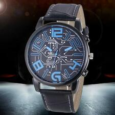 Deluxe Men's Sports Watch Leather Strap Analog Casual Quartz Wrist Watches
