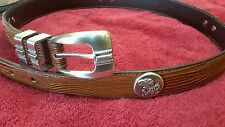 University of Kansas Jayhawks Brown Lizard Leather Belt with Conchos Size 34 R