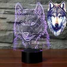 USB LED Night Light 3D Illusion Lamps Wolf head Decor 7 Colors Touch Sensor Lamp